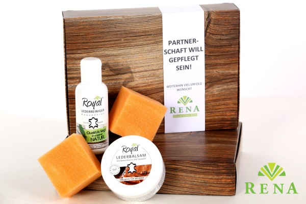 Geschenkbox Royal® - Lederpflege-Set in hochwertiger Verpackung in Holzoptik