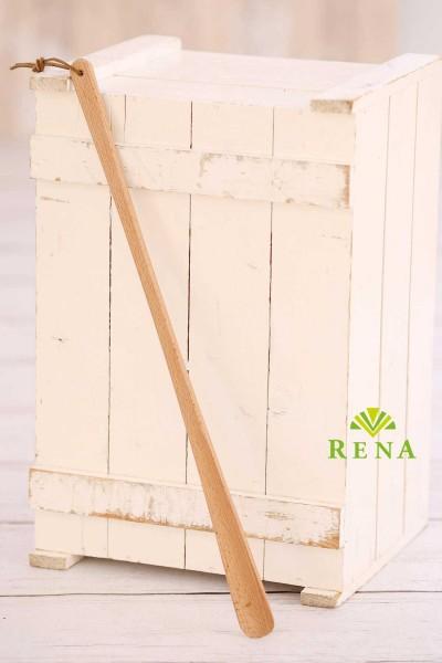 Schuhlöffel lang mit Lederband Holz